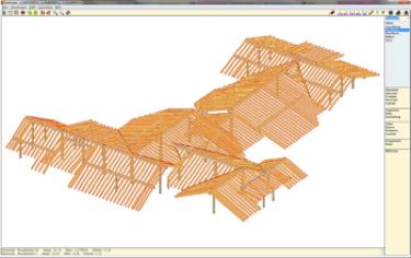 BU: Ein Beispiel für einen Dachstuhl aus der kostenpflichtigen Abbundsoftware TrimFox (Bild: http://www.trimfox.com/Abbundprogramm.htm )