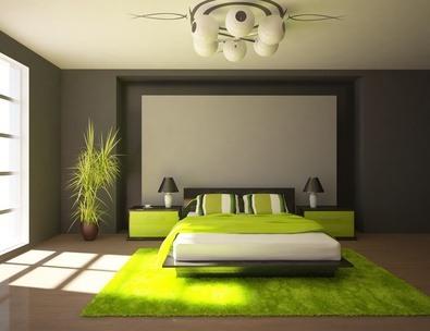 Schlafzimmer: Graue Wände, Saftig Grüne Nachttische, Deko Und Teppich