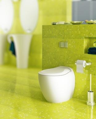 Installation Toilette: Badezimmer in gelb-grün (focus)