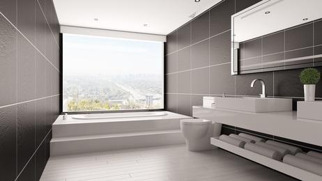Minimalistisches Bad mit Badewanne © Robert Kneschke - fotolia.com